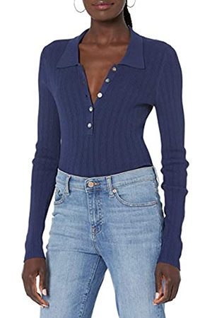 THE DROP Dara schmal geschnittener, unregelmäßiger Rippstrick-Pullover mit Polokragen, für Damen