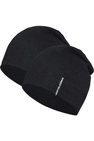 EMPIRELION Lightweight Beanies Hats for Men Women Running Skull Cap Helmet Liner Sleep Caps (Black + Black