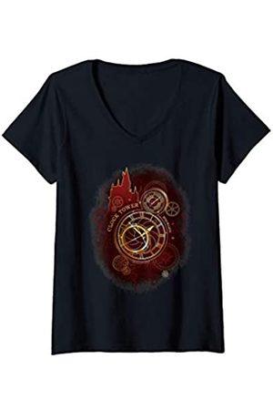 Harry Potter Damen Shirts - Damen Hogwarts Clock Tower T-Shirt mit V-Ausschnitt