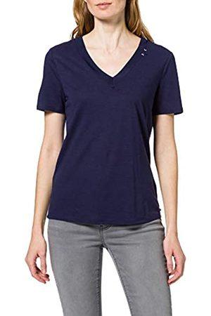 Scotch&Soda Maison Damen V-Ausschnitt aus einem Mix aus Leinen und recyceltem Polyester T-Shirt