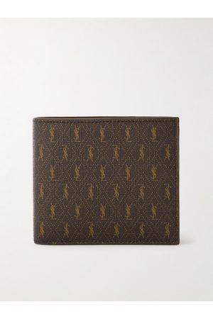 SAINT LAURENT Leather-Trimmed Monogrammed Coated-Canvas Billfold Wallet