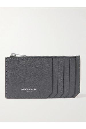 SAINT LAURENT Logo-Print Pebble-Grain Leather Cardholder