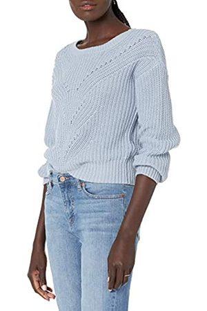 THE DROP Damen Strickpullover - Selena Cropped-Pullover mit Zopfmuster vorne, für Damen, (Fog Blue)