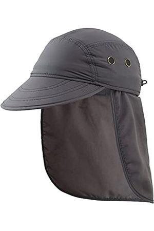 Connectyle Herren UV-Sonnenschutzkappe Safari Wandern Kappe mit Nackenklappe Fischerhut - Schwarz - L/XL