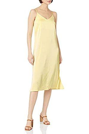 THE DROP Damen Ana Silky Midi-Slip-Kleid mit V-Ausschnitt