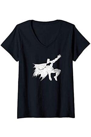 Batman Damen Shirts - Damen v Superman Knight Silhouette T-Shirt mit V-Ausschnitt