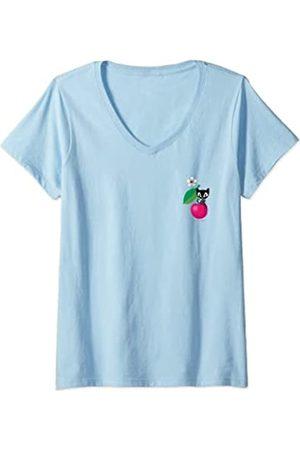 Pussy Deluxe Damen Kirsche T-Shirt mit V-Ausschnitt