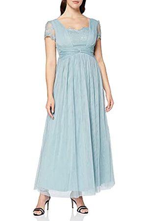 Little Mistress Damen Lange Kleider - Damen Clarita Blue Lace Mesh Maxi Dress Kleid, (Glacier)