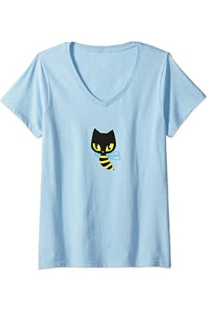 Pussy Deluxe Damen Bienchen T-Shirt mit V-Ausschnitt