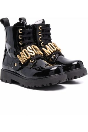 Moschino Kids Logo-lettered leather boots