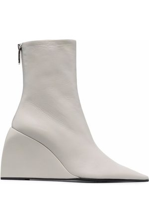 OFF-WHITE Damen Stiefel - NAPPA DOLL WEDGE BOOTIE GREY NO COLOR