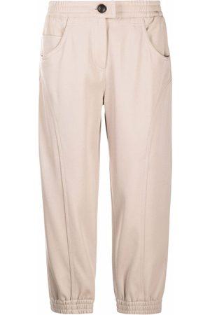 Giorgio Armani Damen Capris - Cropped wool trousers - Nude