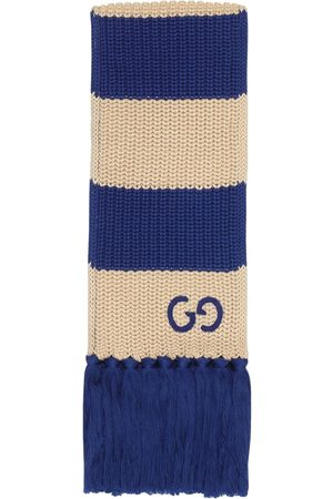 Gucci Thin striped GG-logo knitted scarf - Nude