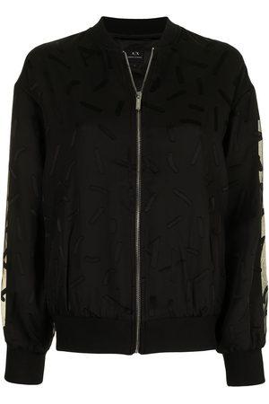 Armani Embroidered-design sheer-overlay bomber jacket