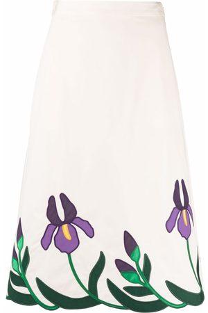 Tory Burch Floral midi skirt - Nude