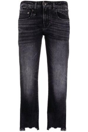 R13 Cropped-Jeans mit offenem Saum