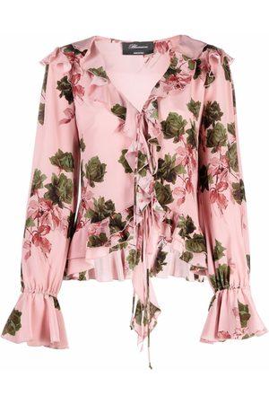 BLUMARINE Damen Blusen - Seidenbluse mit Blumen-Print