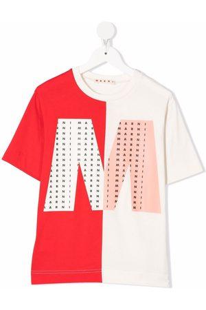 Marni Two-tone logo-print T-shirt - Nude