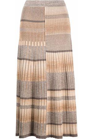 JONATHAN SIMKHAI Stripe-pleat knitted skirt - Nude
