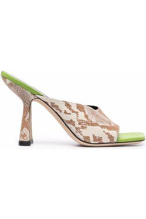 By Far Damen Sandalen - Snakeskin-effect sandals - Nude