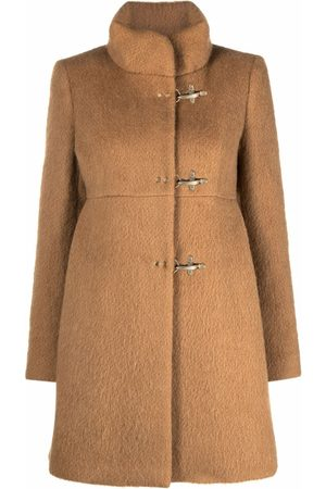 FAY Toggle-fastening high-neck short coat - Nude