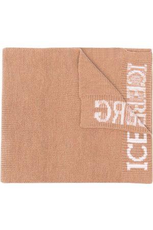 Iceberg Logo-print wool scarf - Nude