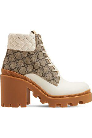"""Gucci 70mm Hohe Stiefel Aus Leder Und Canvas """"trip"""""""