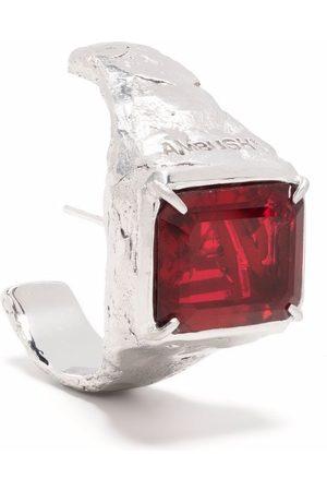 AMBUSH Ohrringe - S SQUARE CUT STONE EARRING PLATINO RED
