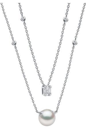 Yoko London Damen Halsketten - 18kt Weißgoldhalskette mit Perle und Diamanten