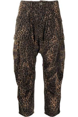 R13 Damen Capris - Cropped leopard-print trousers