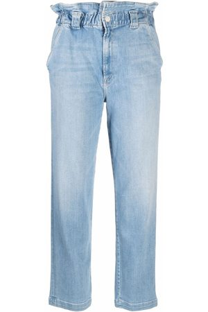 Mother Yoyo Ruffle Greaser ankle jeans
