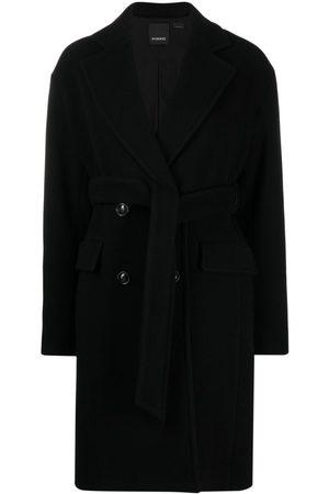 Pinko Double-breasted virgin wool coat