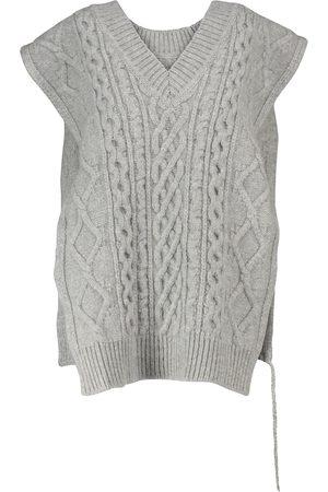 Maison Margiela Damen Strickpullover - Pullunder aus Wolle mit Zopfmuster