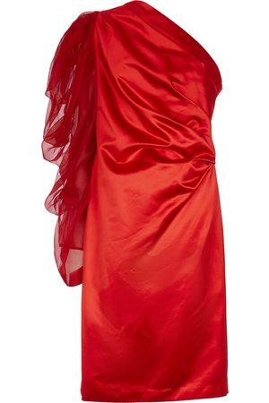 DRIES VAN NOTEN Damen Asymmetrische Kleider - One-Shoulder-Kleid aus Satin und Tüll