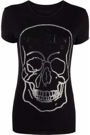 Philipp Plein Damen Shirts - T-Shirt mit Totenkopf-Print