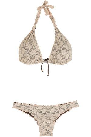 AMIR SLAMA Neckholder-Bikini aus Spitze - Nude