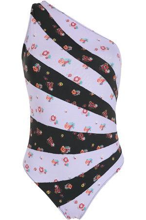 AMIR SLAMA One-Shoulder-Badeanzug mit Print - Mehrfarbig