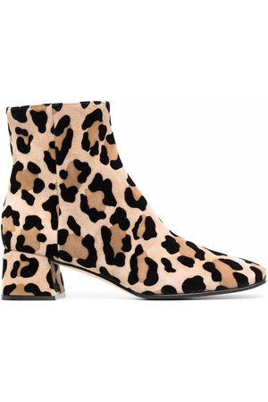 Sergio Rossi Leopard-print ankle boots - Nude