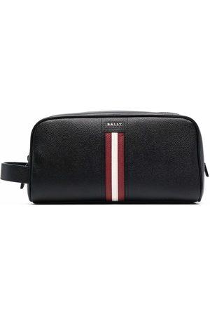 Bally Logo-plaque leather wash bag - BLACK