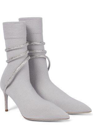 RENE CAOVILLA Verzierte Ankle Boots Cleo aus Strick