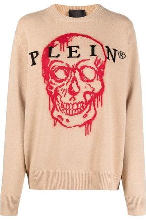 Philipp Plein Intarsien-Pullover mit Totenkopf - Nude