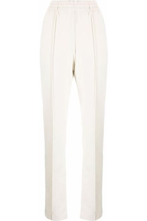 Y-3 High-waisted pressed-seam trousers - Nude