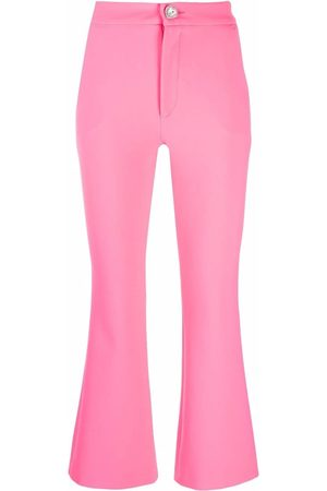 Chiara Ferragni Crystal-button flared cropped trousers