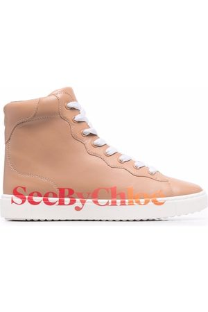 See by Chloé Logo-print zip-up trainers - Nude