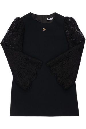 Dolce & Gabbana Kleid Aus Viskose Mit Spitzenärmeln