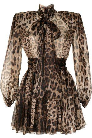 Dolce & Gabbana Leopard-print wide-shoulder dress - Mehrfarbig