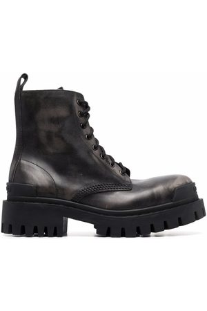 Balenciaga Damen Schnürstiefel - Strike leather lace-up boots