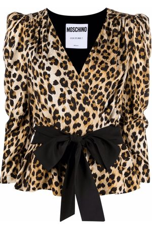 Moschino Wrap-style leopard blouse - Nude