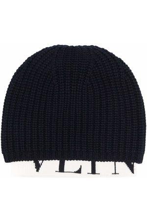 VALENTINO Herren Hüte - Ribbed knit logo-hem beanie - 671
