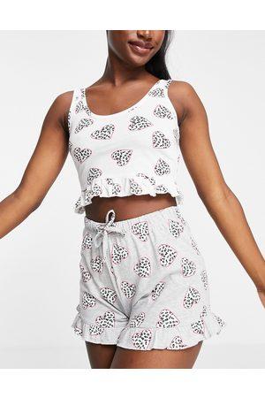 Brave Soul Damen Schlafanzüge - – Marie – Pyjama mit Trägertop und Shorts mit Herzmuster in und Weiß